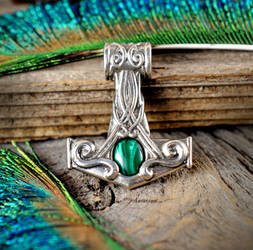 Sterling Silver Mjolnir with Malachite by Kittenpants