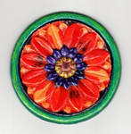 Poppy Mandala on Wood by Kittenpants