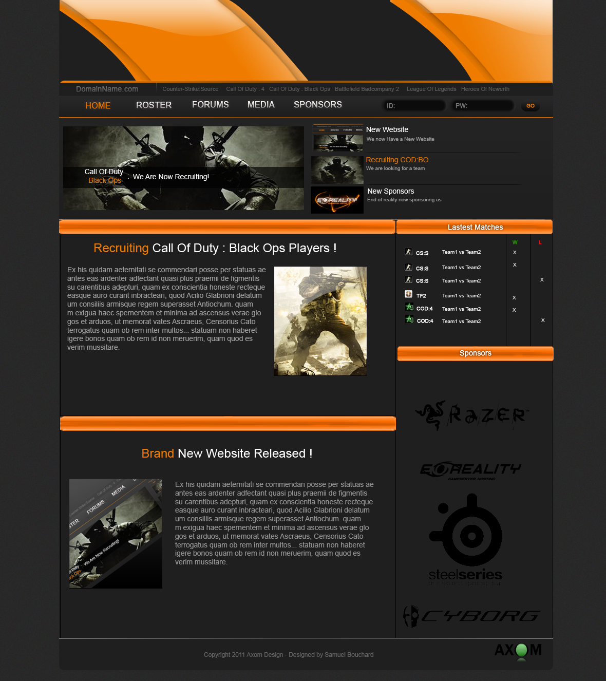 gaming website template by sambouchard on deviantart. Black Bedroom Furniture Sets. Home Design Ideas