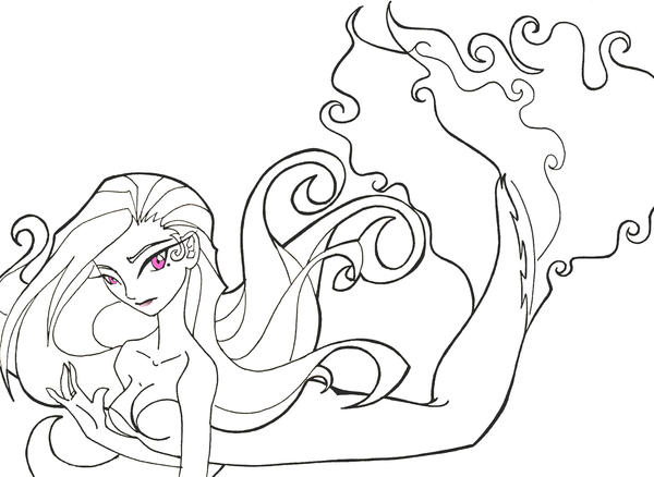 Line Art Mermaid : Mermaid lineart by sugar o on deviantart