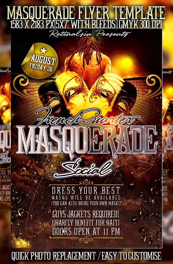 psd masquerade flyer template by retinathemes on deviantart