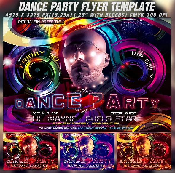 Psd Dance Party Flyer Template By Retinathemes On Deviantart