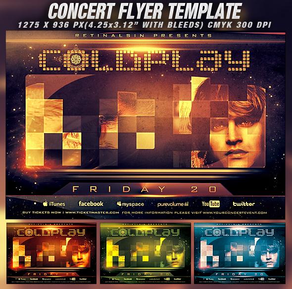 PSD Concert Flyer Template v.2 by retinathemes