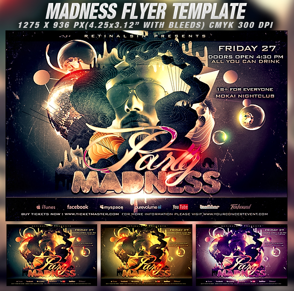 PSD Madness Flyer Template by retinathemes
