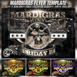 PSD Mardigras Weekend Flyer Template by retinathemes