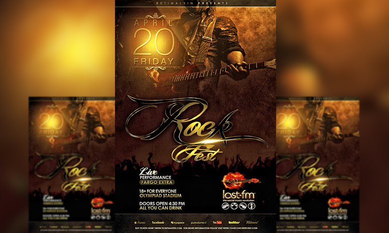 PSD Rock Fest Flyer Template by retinathemes