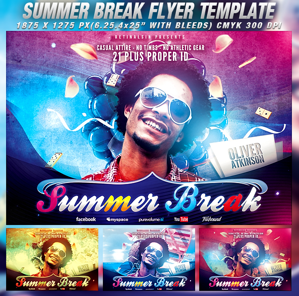 Psd summer break flyer template by retinathemes on deviantart for 11x17 poster template photoshop