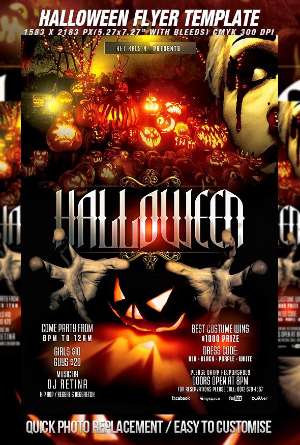 Psd halloween flyer template by retinathemes on deviantart for Halloween flyers psd