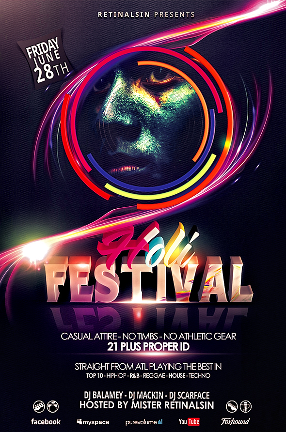 holi festival flyer template festival of colors by retinathemes on