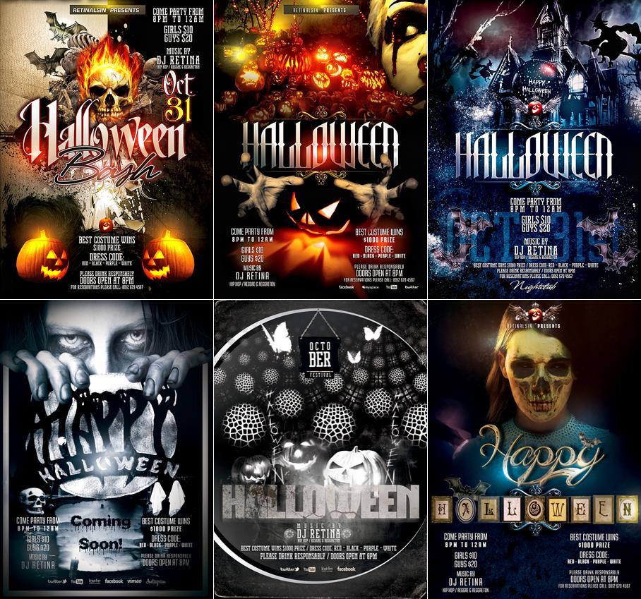 PSD Halloween Flyer Templates by retinathemes