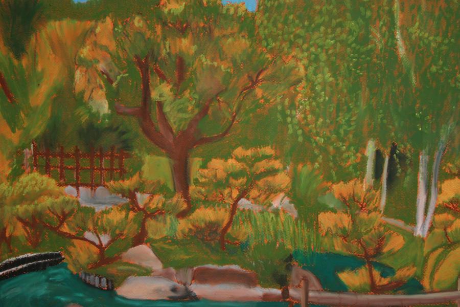 garden pastel painting by zeusmonkey