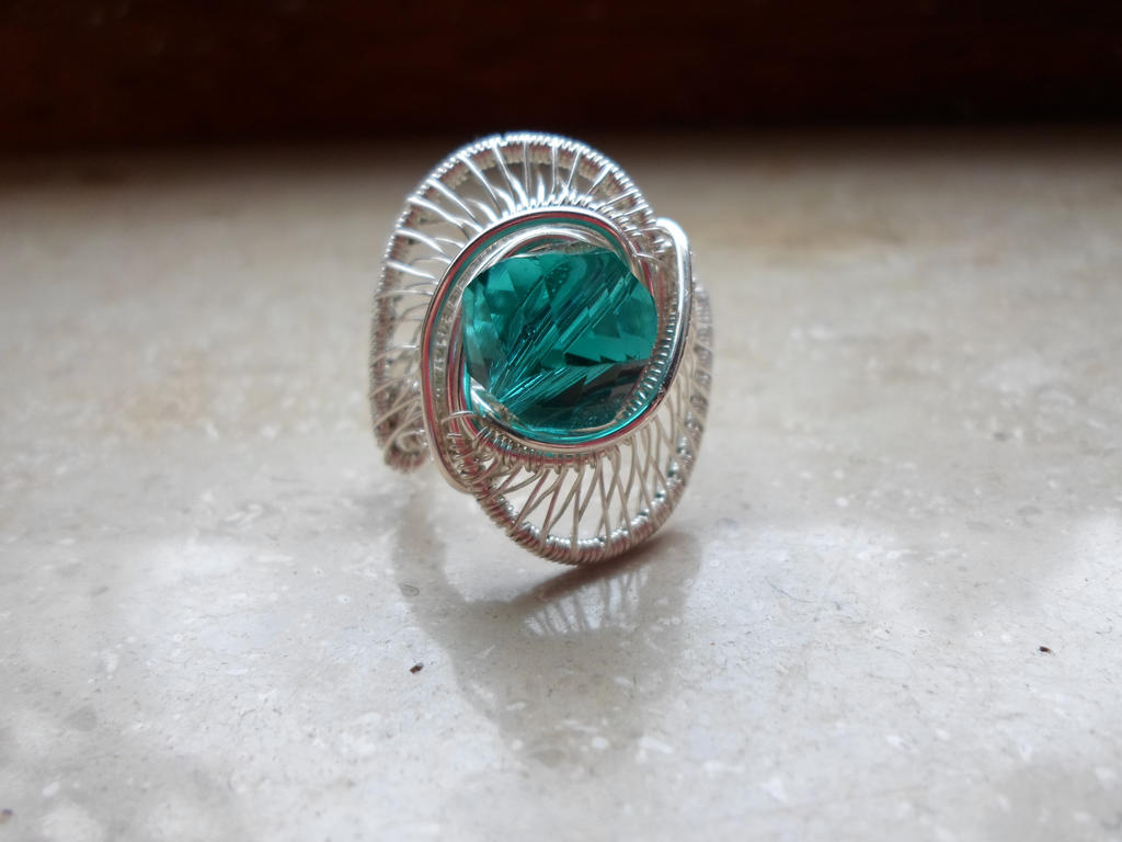 silver aquamarine wire wrapped statement ring by Toowired on DeviantArt