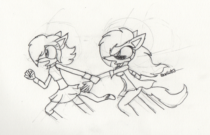 scoots and Abby running sketch by FireCats3