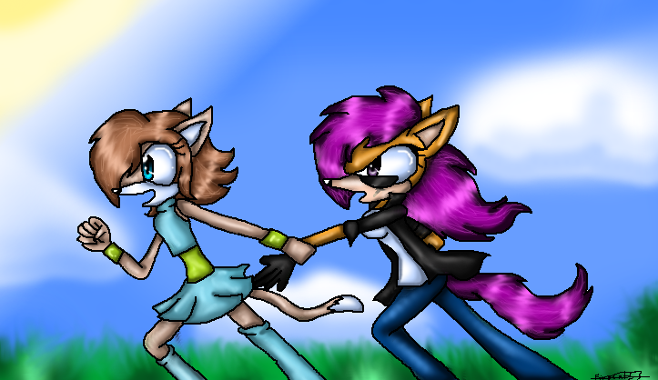 scoots and Abby running by FireCats3