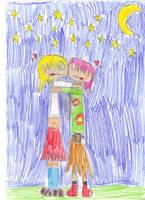 SailorSun and Madoka: Moonlight Kiss by OriLance97