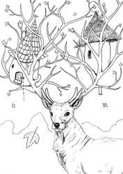 Autumn Deer by Pierre-Blondin