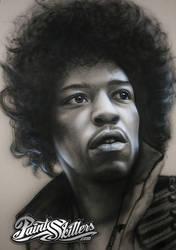 Jimi Hendrix - Airbrush Painting by Konf