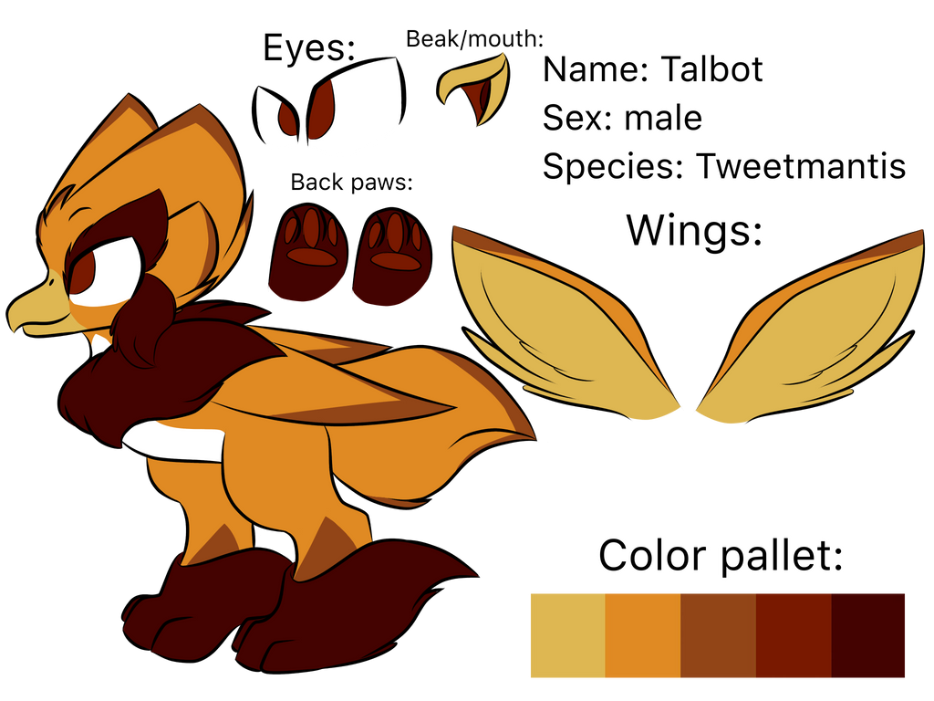 Talbot the Tweetmantis(mascot of the tweetmantis) by Perma-Fox