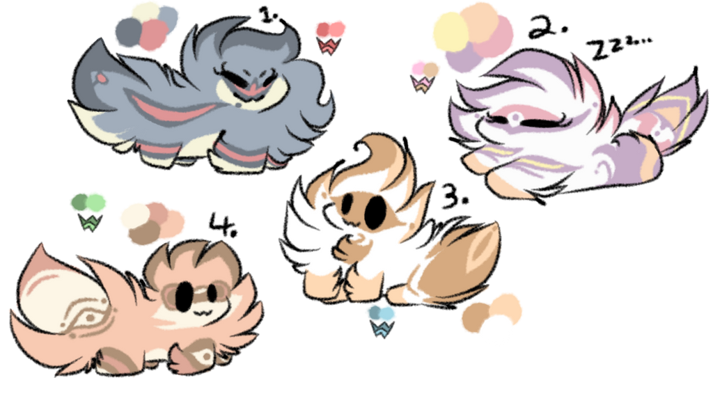 Floofmon babies! (auction! 1/4 OPEN ONE MORE LEFT) by Perma-Fox