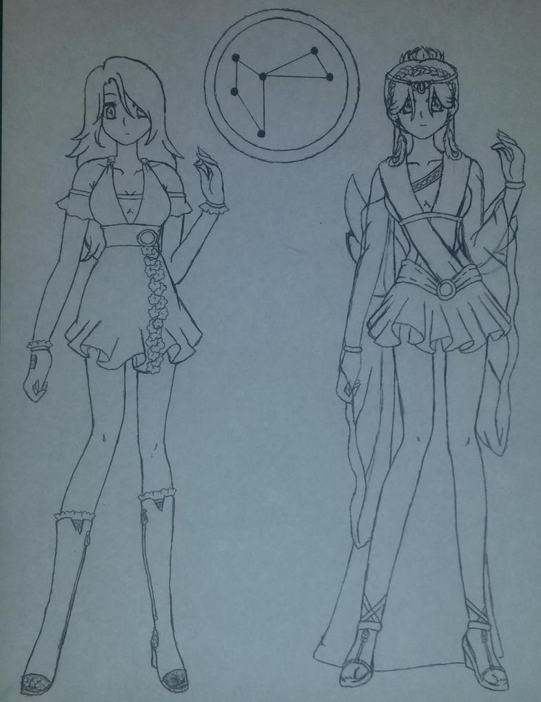 Callie and Sailor Phoena (Sketch) by Yukina-Snowbunny