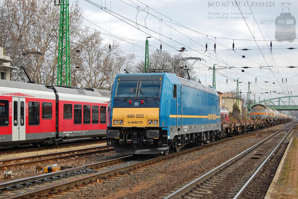 480 022 with freight train in Komarom on 2012 by morpheus880223