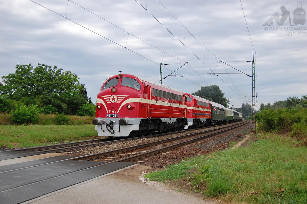 M61 001 and M61 017 with special train near Gyor by morpheus880223