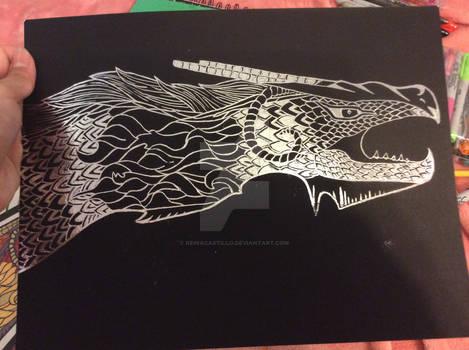 My 1st scratchboard artwork, of a dragon!