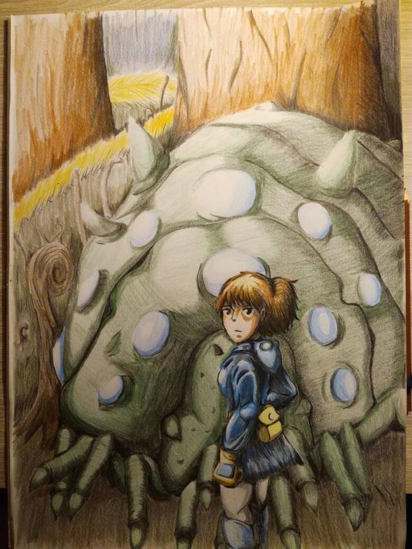 Nausica with an Ohmu by Wiesi78