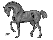 pixel horse Grayscale by AgnethaArt