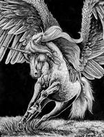 Traditional Art - Alicorn In Black And White