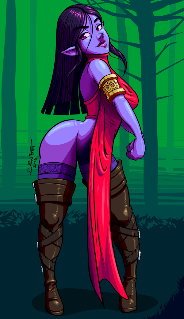Purple Elf Girl by art-blaster