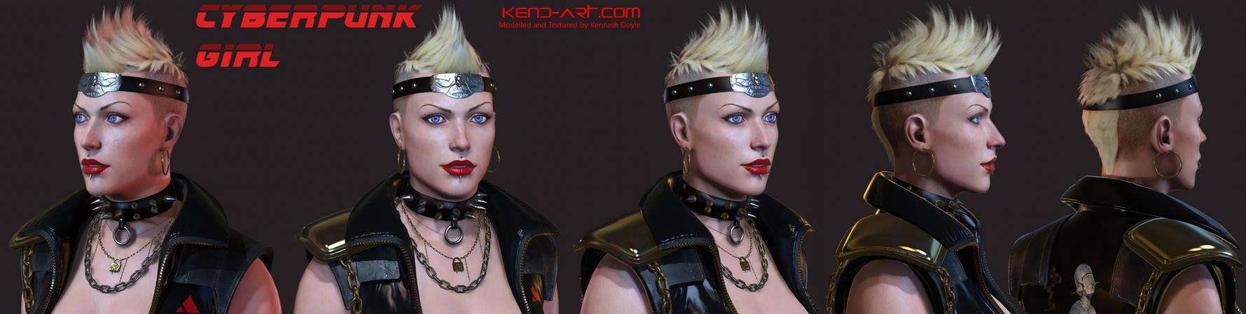 Cyberpunk girl head shots by kdoyle9