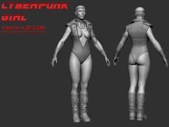 Cyberpunk Girl Zbrush by kdoyle9
