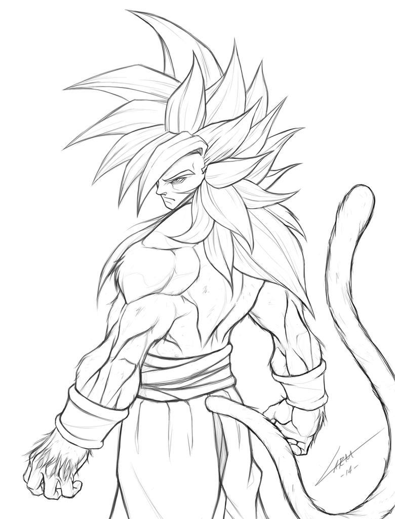 Goku SSJ4 Lineart by LuisLarm