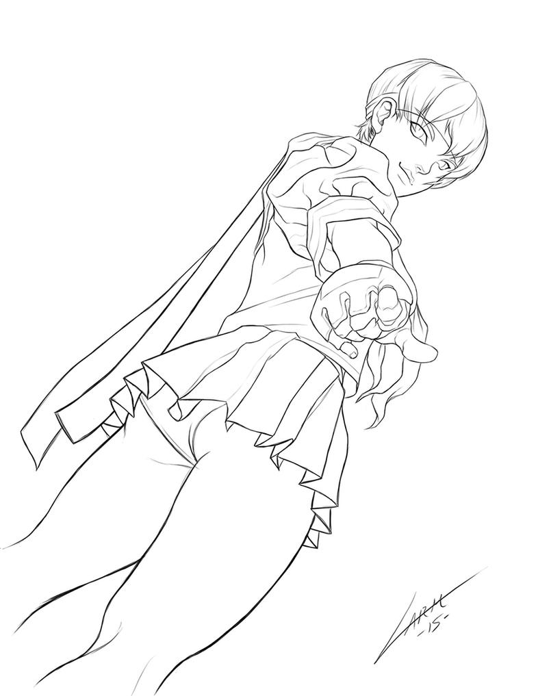 Sakura Street Fighter LineArt by LuisLarm