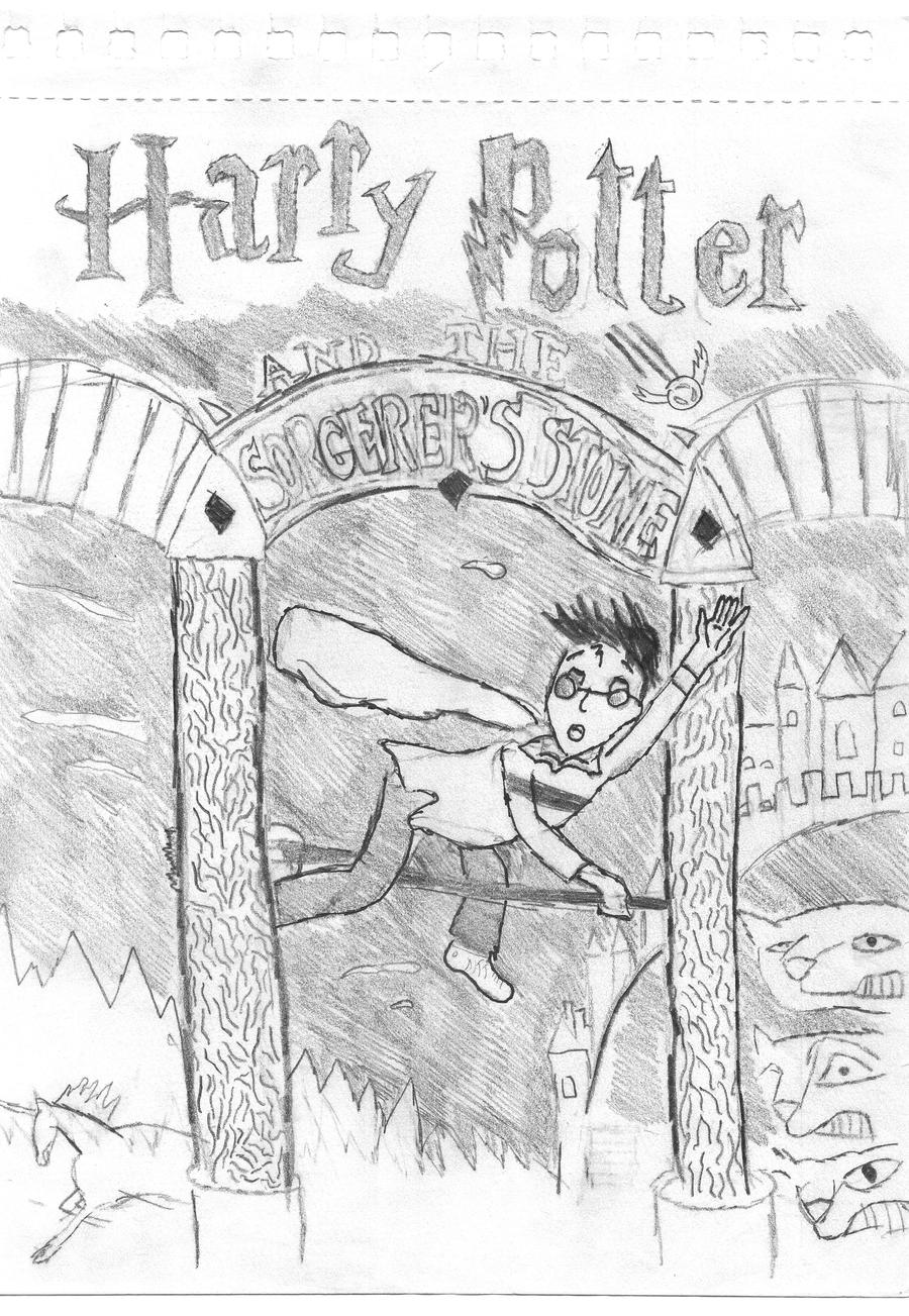 Book Cover Drawing Book ~ Harry potter cover sketch by smilesmilesmile on deviantart