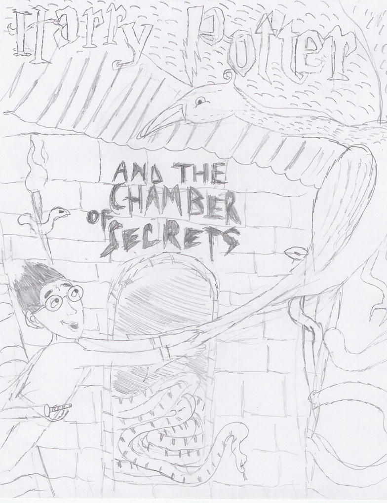 Harry Potter Book Cover Drawing : Harry potter book cover the chamber of secrets by
