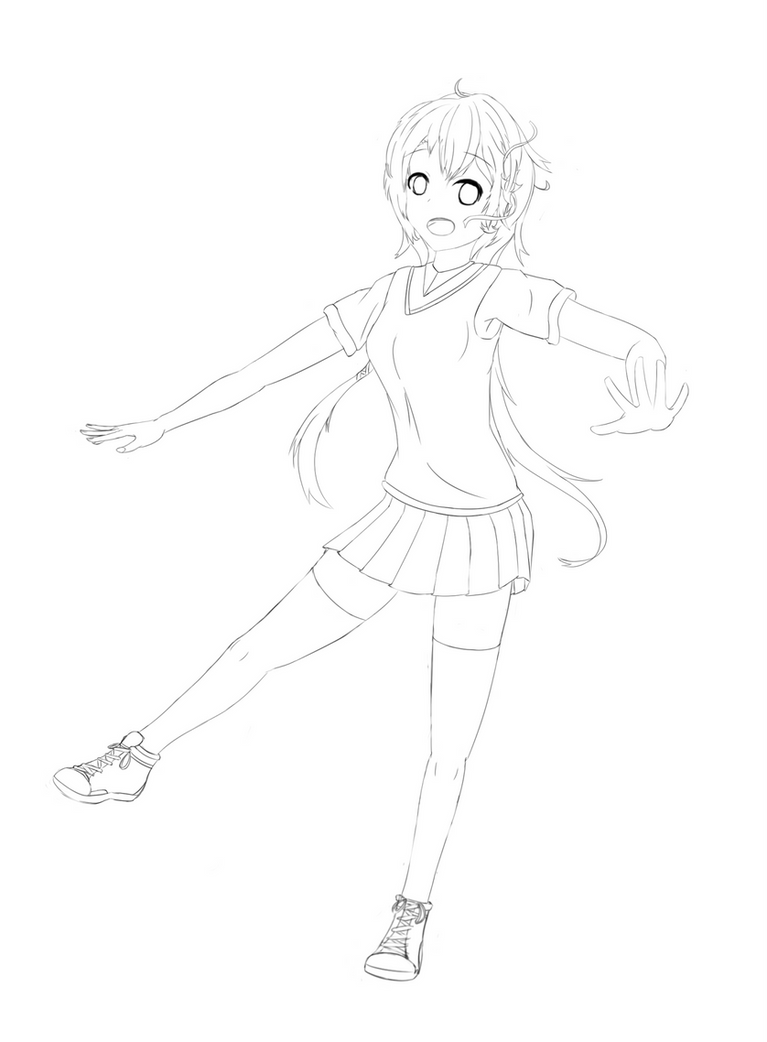 Anime girl, outlines only by Sirlami on DeviantArt