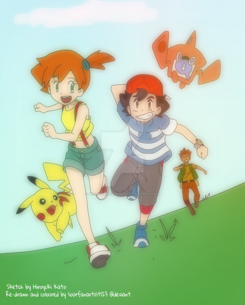 ash brock and misty pokemon sun and moon by sourfanartist123