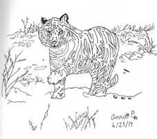 Snowy Tiger Labyrinth for day 6 by SwirlyCat147