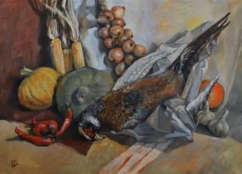 pheasant (autumn still life) by like-a-cactus