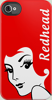 Miss Redhead with Text iPhone Case at RedBubble by GreenEyedHarpy
