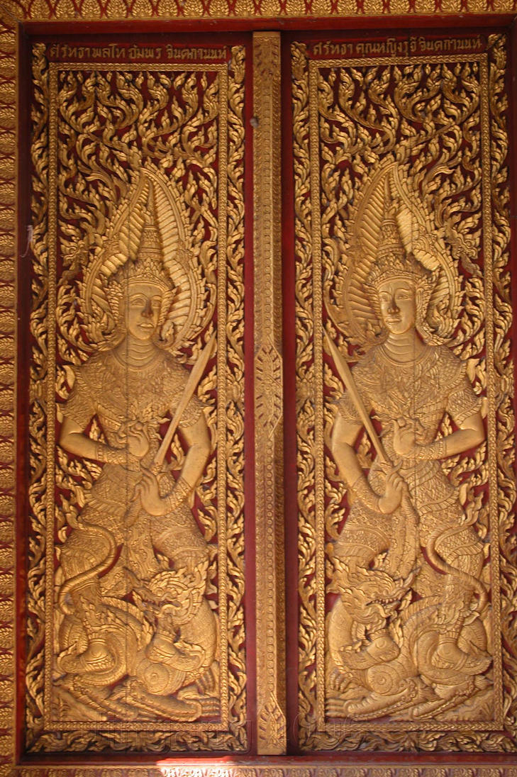 Thai Temple Door By Jingang . & Thai Door \u0026 Thai Delicate Pattern Carved On Temple Wooden Door ... Pezcame.Com