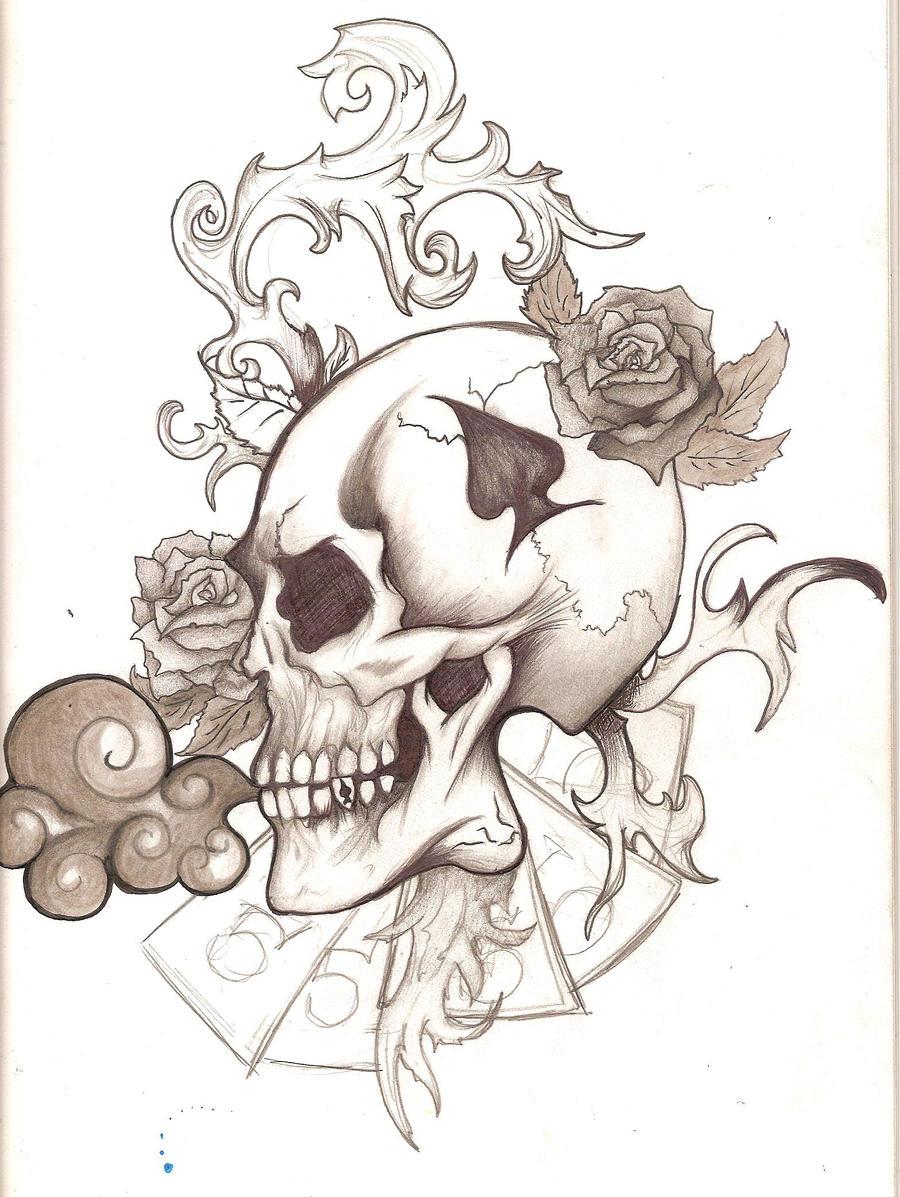 skull tattoo by panda odono traditional art drawings fantasy 2010 2015 ...