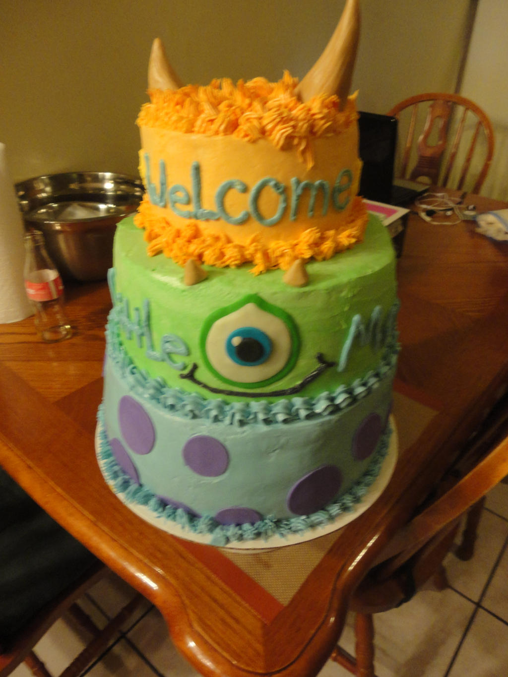 baby shower monster cake by panda odono on deviantart