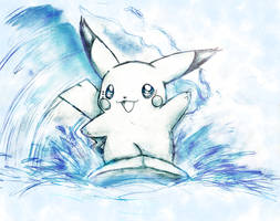 Puka the surfing pikachu by Naaraskettu