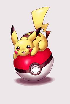 Pikachu on a pokeball