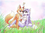 Fox and Krystal in flower garden