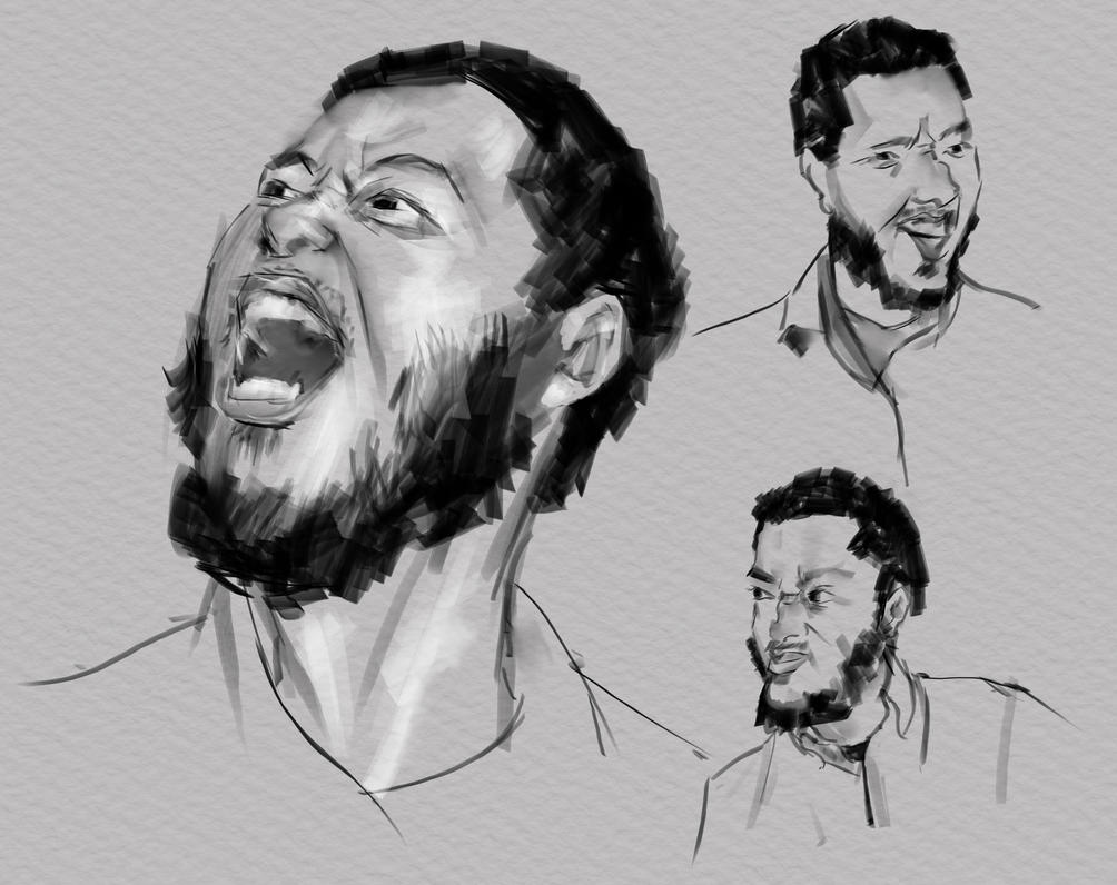 Black Face Expression study by boepil