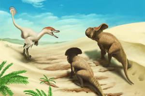Velociraptor and protoceratops by Olorotitan